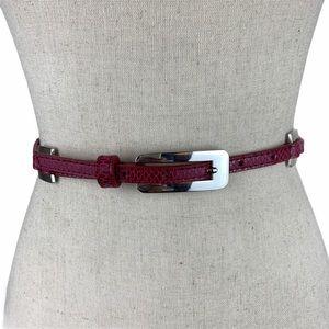 White House Black Market Pink/Silver Skinny Belt
